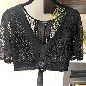 Black Lace Crop Tie Top
